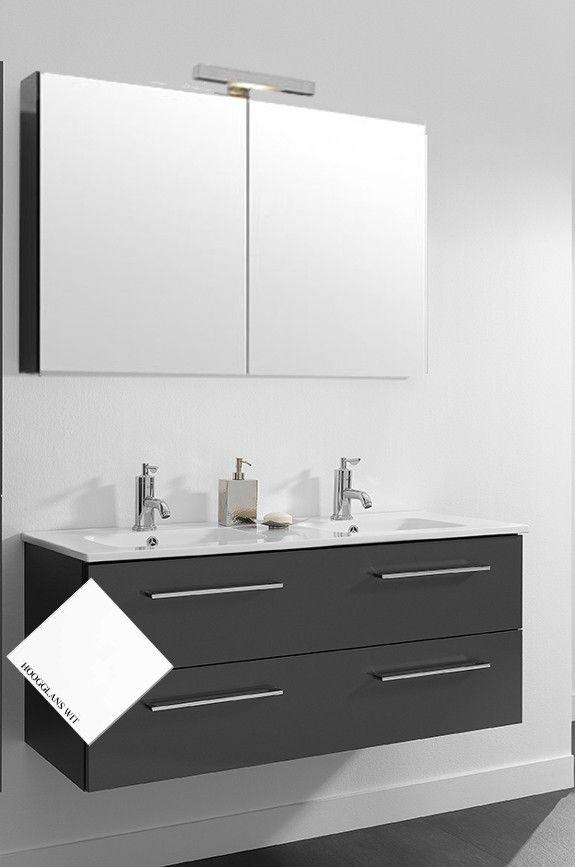 primabad badmeubel actie set 3 met greep 121 cm hoogglans wit met een dubbele keramische wastafel