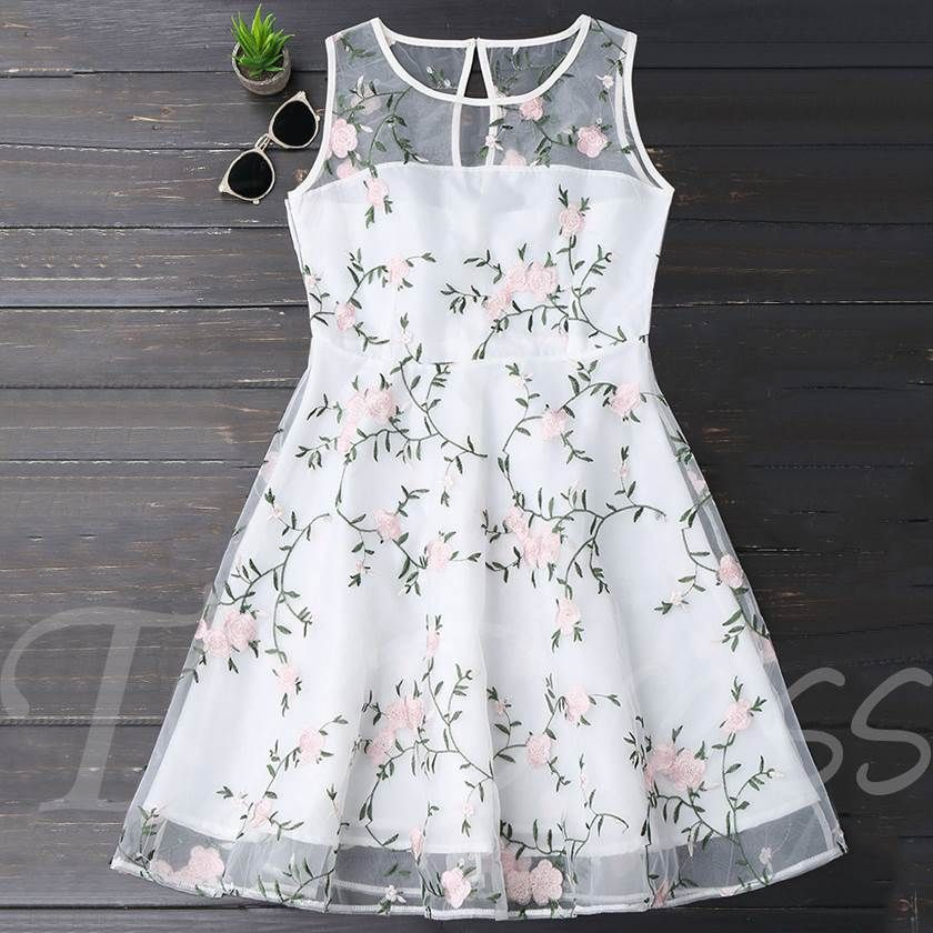 4129fca9bc8 Mesh Embroiderd Sleeveless Women s Day Dress