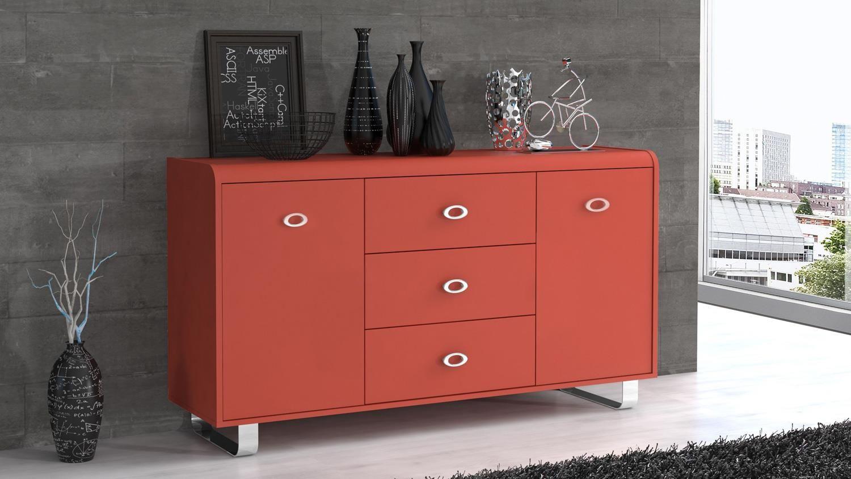 Sideboard GIPSY in rot inkl. Selbsteinzug Metallgriffe verchromt