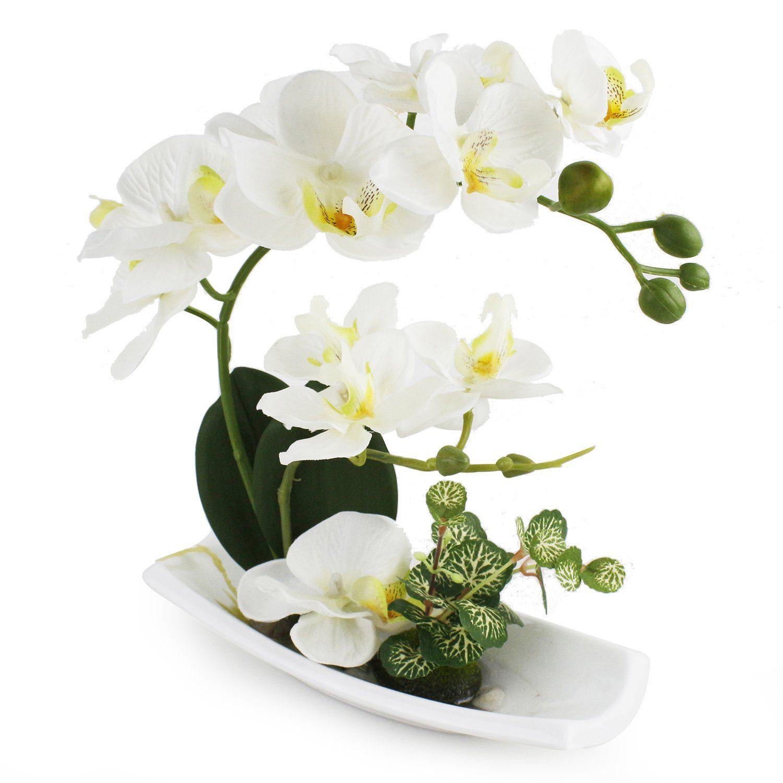 Dynabit Artificial Orchid Flower Arrangements With White Porcelain