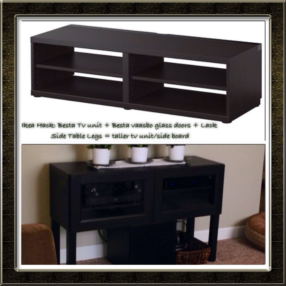 ikea hack besta tv stand besta vaasbo glass doors lack side table legs besta tall tv. Black Bedroom Furniture Sets. Home Design Ideas