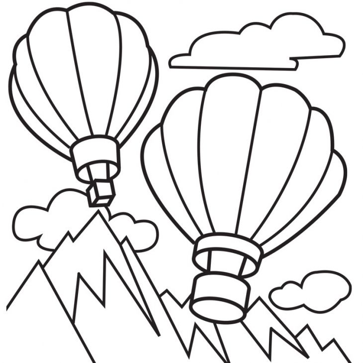 Hot Air Balloons Flying Above Mountains Coloring Page ...