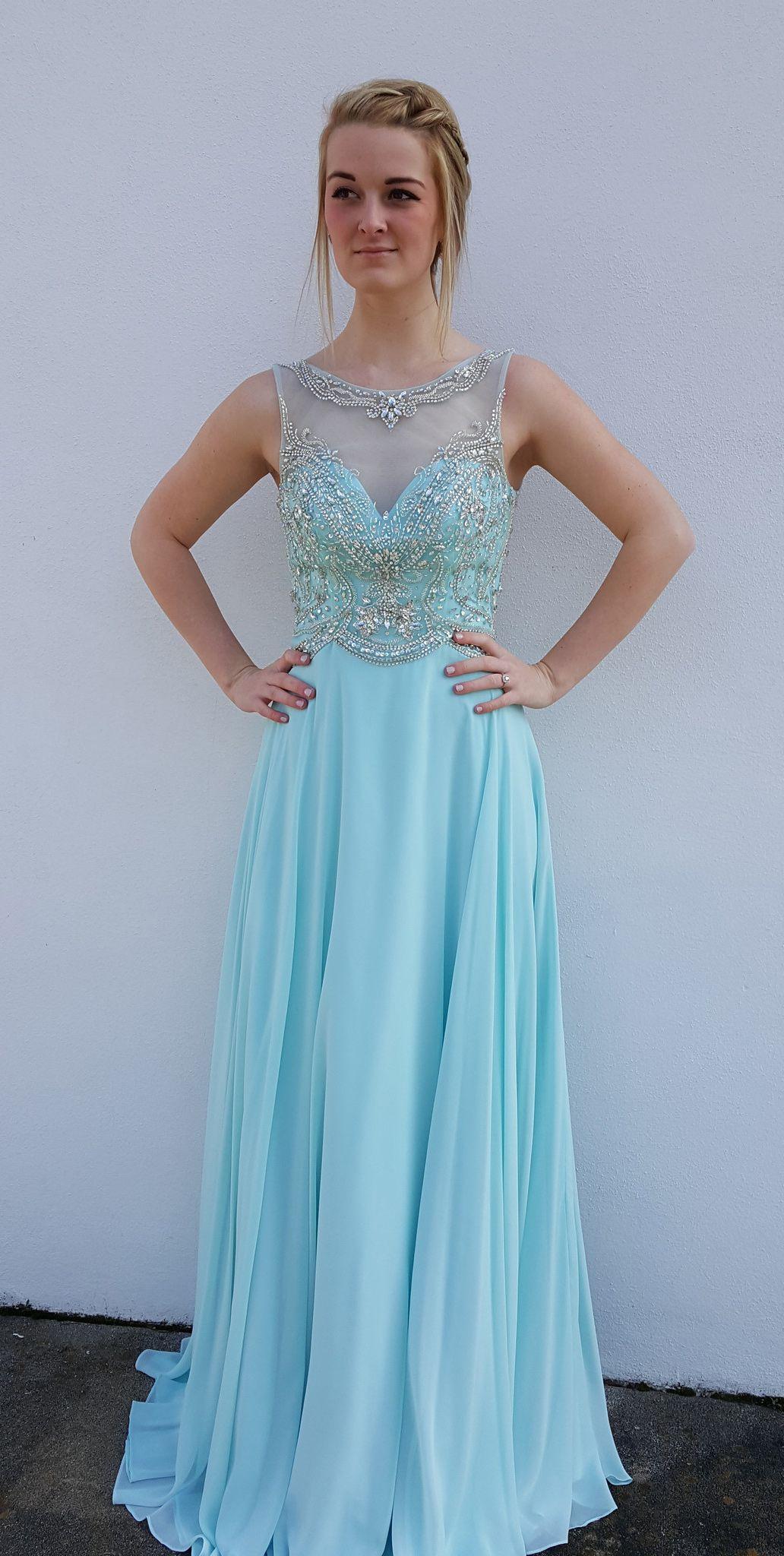Elegant Floor Length Prom Party Dress - Blue Scoop Backless Tops ...