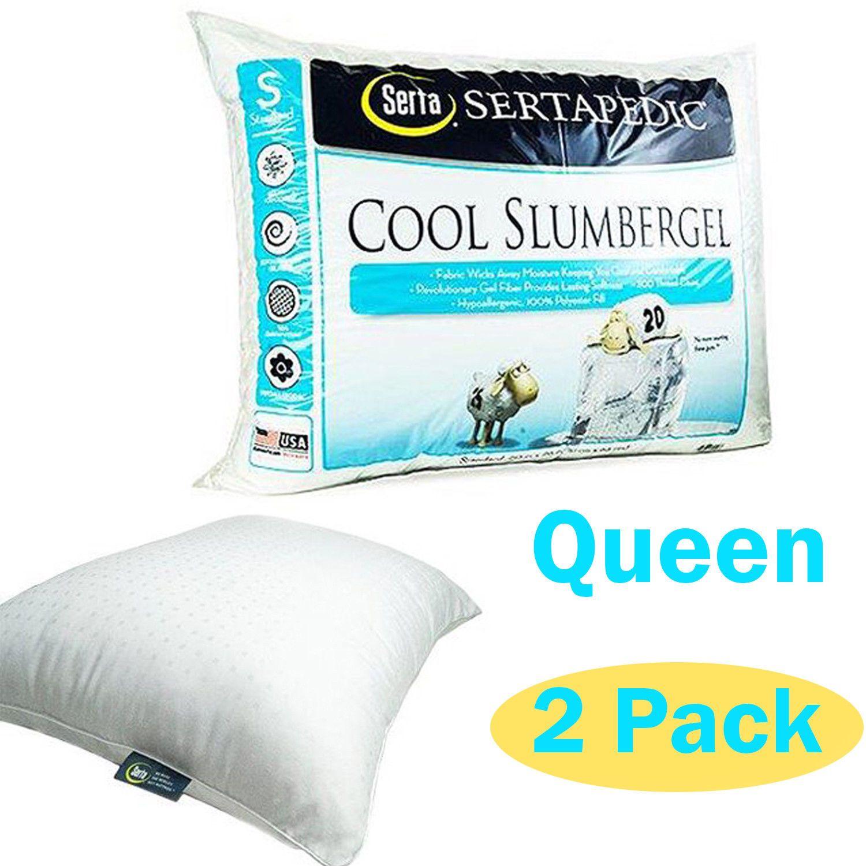 Cool Gel Bed Pillows Queen Size Slumber Sertapedic Hypoallergenic
