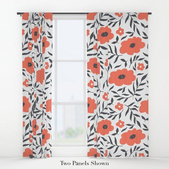 Red Flowers Window Curtains Red Curtains Flower Curtains Mod