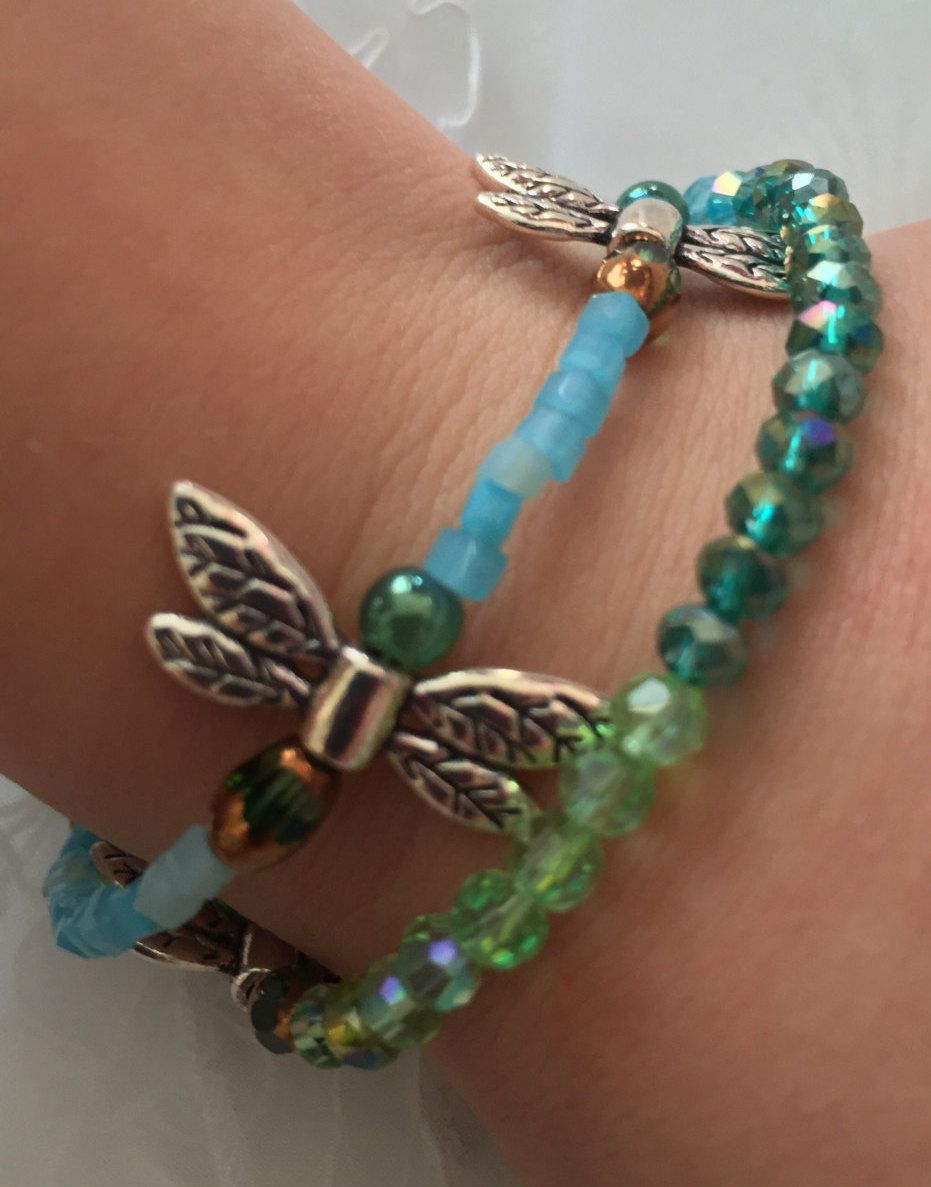 Dragonfly bracelets glass beaded dragonfly bracelets girls