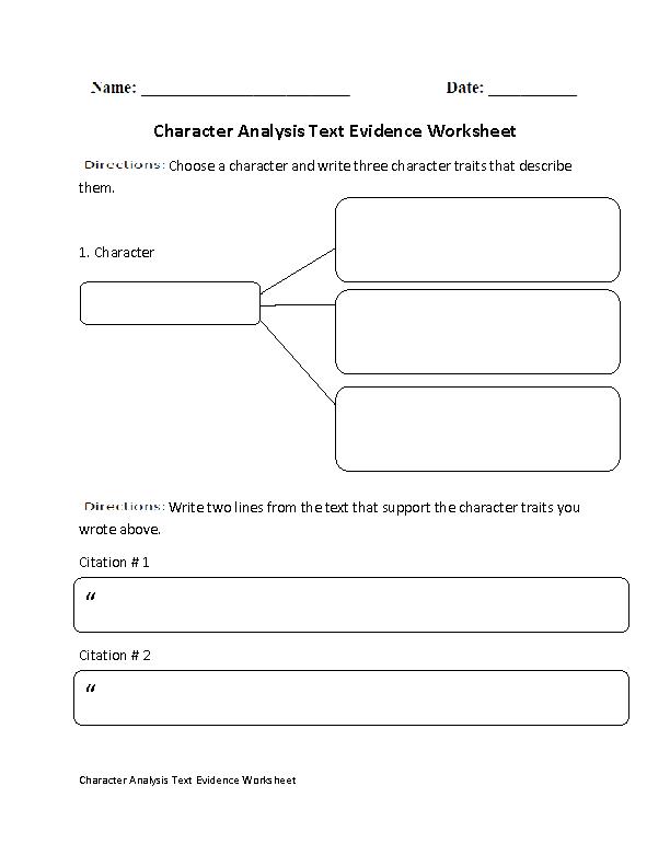 Character Analysis Text Evidence Worksheets | bing balayon | Text ...