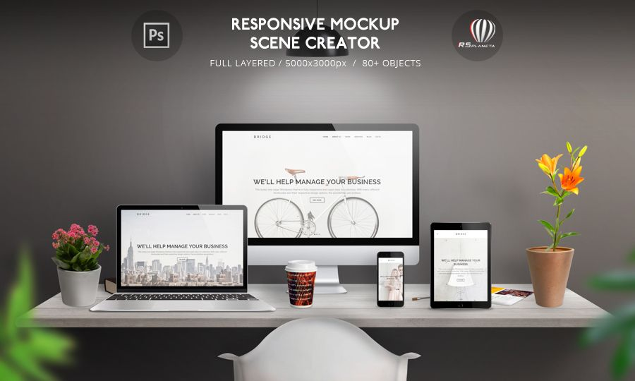 responsive #mockup #scene #creator is intended for the promotion, Powerpoint templates