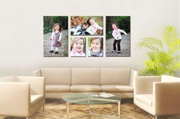 Fotos auf Leinwand selber machen fotocollage wohnzimmer DIY - Do - leinwand für wohnzimmer