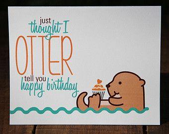 Otter u2013 etsy au puns pinterest otters etsy and cards