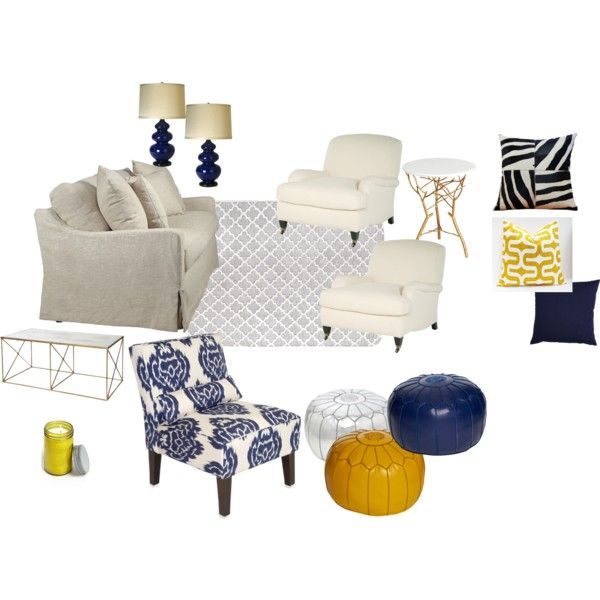 """Blue & Yellow Living Room"" by kate-103 on Polyvore"