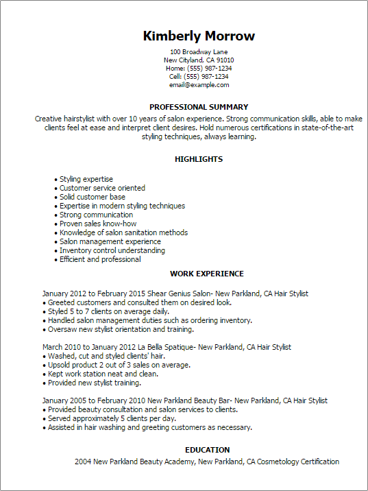 Resume Examples Hair Stylist Examples Resume Resumeexamples Stylist Hairstylist Resume Resume Examples Resume Templates