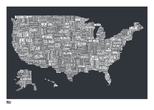 Cool Map Of The Us US Typography map | Prints, Map print, Screen printing