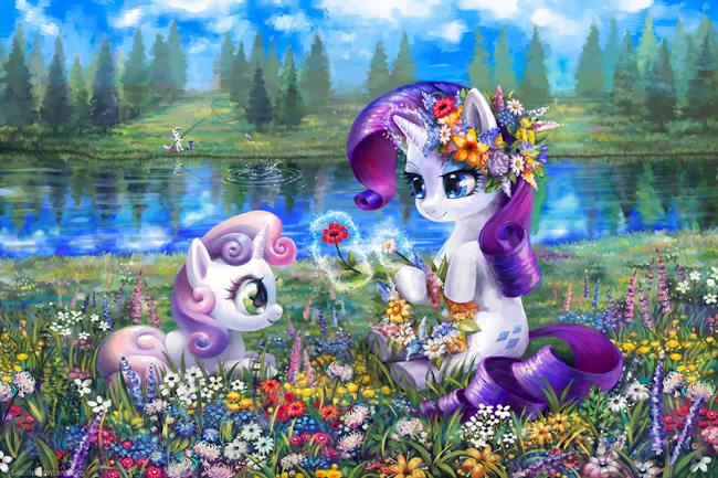 rarity and sweetie belle are so cute sisters