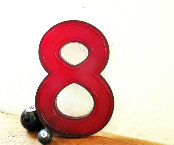 Large 3D marquee number 8 -Lucky 8 vintage movie theater number by FoxberryHill