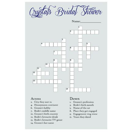 personalized bridal shower crossword printable by salutcreative 999