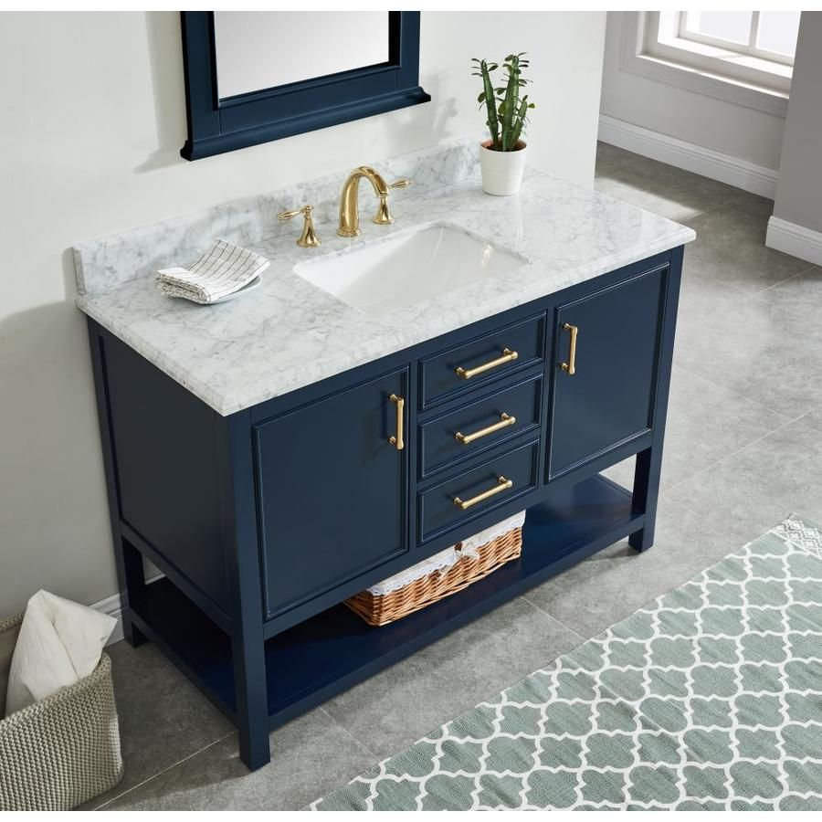 Allen Roth Presnell 49 In Navy Blue Single Sink Bathroom Vanity With Carrara White Natural Marble Top Lowes Com Bathroom Sink Vanity Single Sink Bathroom Vanity Bathroom Vanity