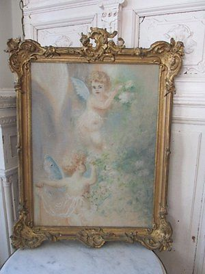 EXQUISITE-Old-CHERUB-OIL-PAINTING-2-CHERUBS-White-Roses-Ornate-Gesso-Frame