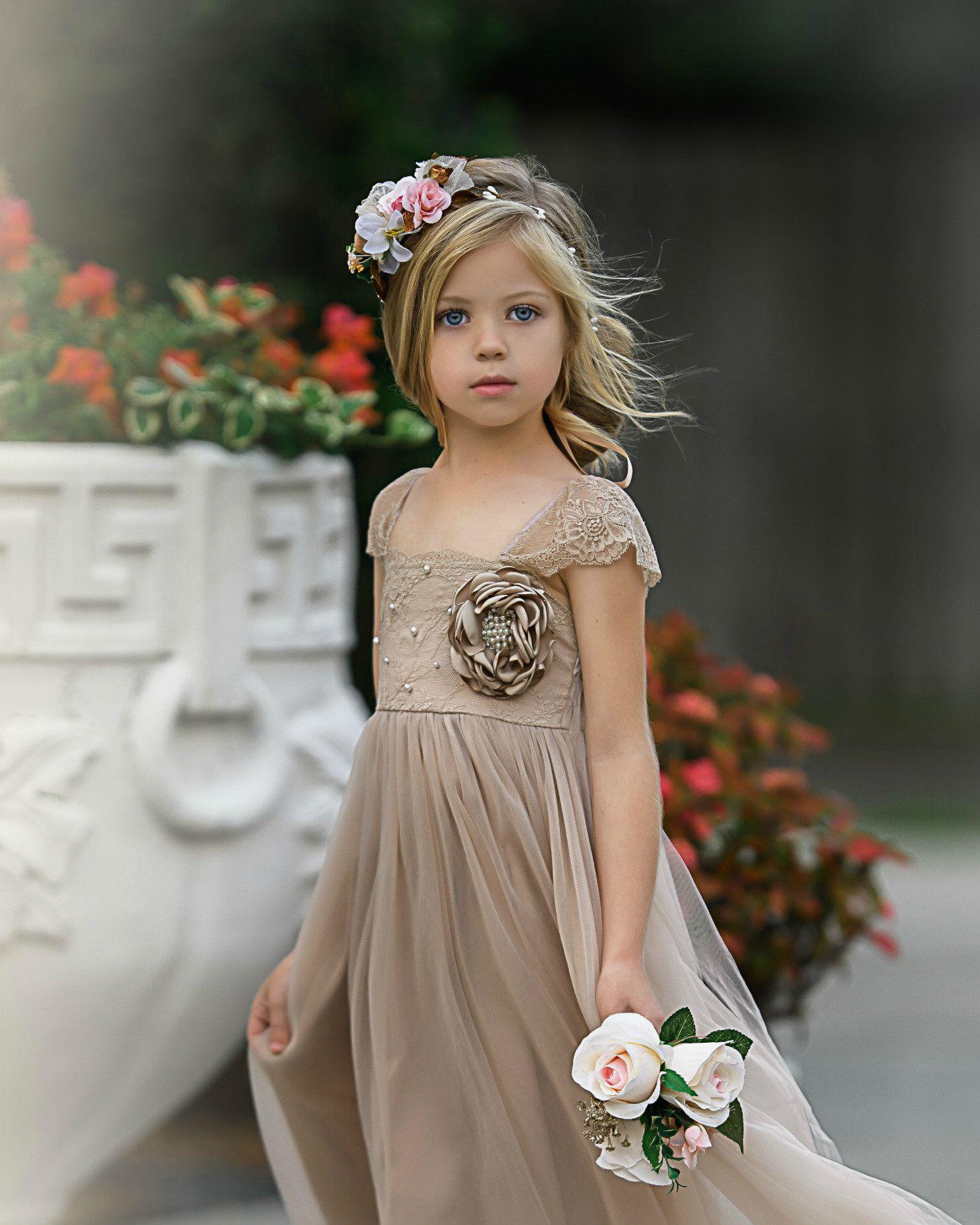 Champagne flower girl dress tulle flower girl dresses