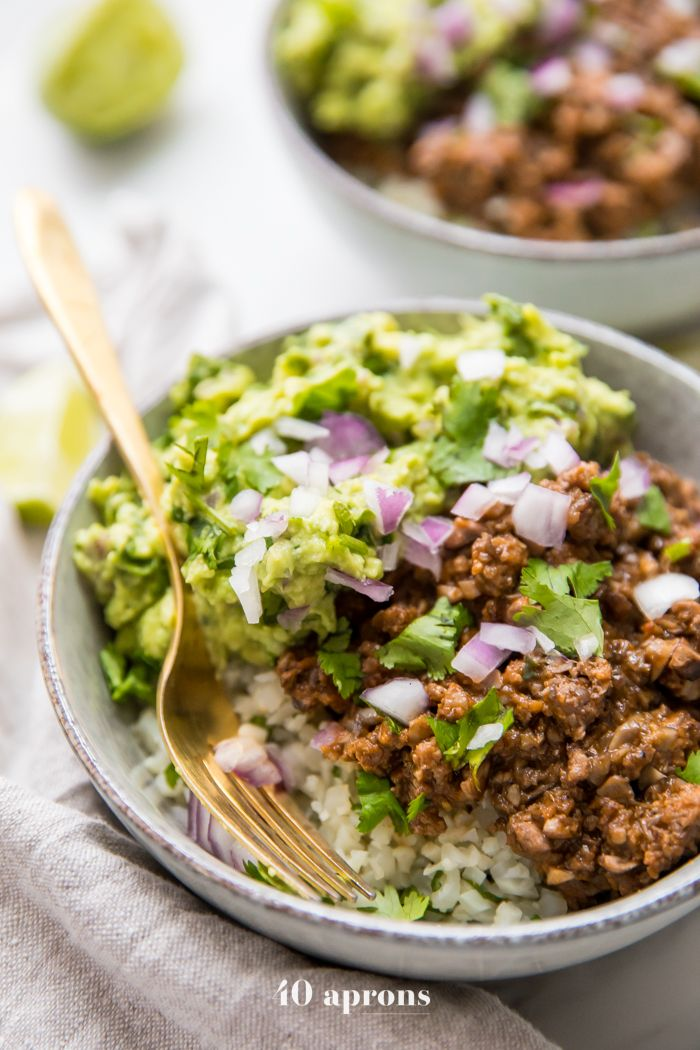 Whole30 Chipotle Beef & Avocado Bowls (Sofritas Copycat, Paleo) These Whole30 chipotle beef & avocado bowls are one of our favorite Whole30 Mexican recipes, loaded with veggies, protein, and healthy fats. Cilantro lime cauliflower rice topped with a saucy, smoky beef & mushroom mixture, all finished with tons of a quick guac, these Whole30 chipotle beef & avocado bowls are bound to be one of your family's favorite Whole30 Mexican recipes, too!