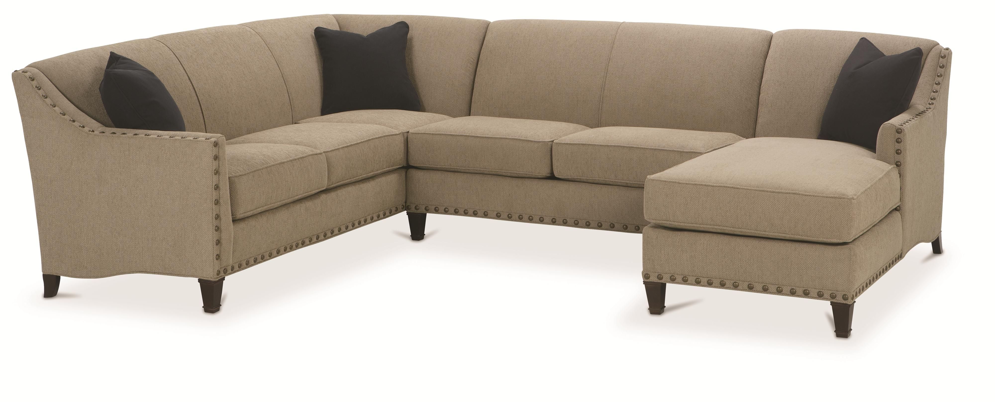 Rowe rockford traditional 3 piece sectional with chaise for Furniture 60614