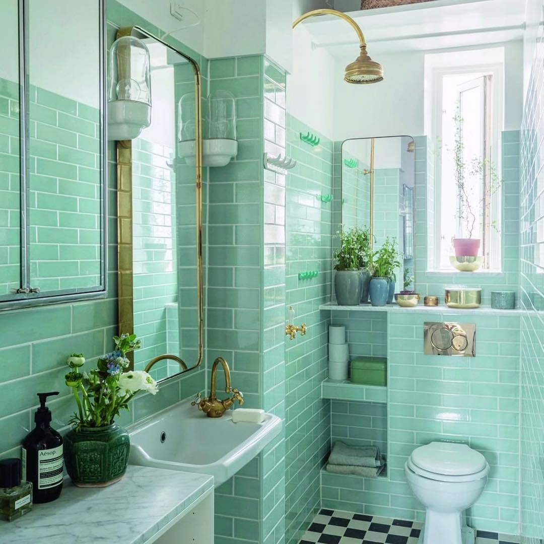 Love This Vintage Style Green Tile Used In This Bathroom V Chic Repost Bobedredk With Small Bathroom Remodel Bathroom Interior Bathroom Interior Design