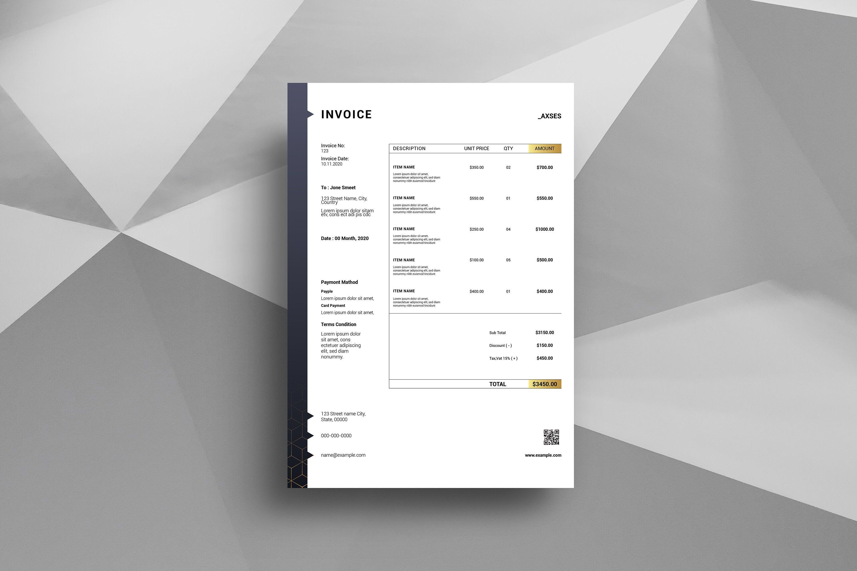 Printable Invoice Template | Business Invoice, Multipurpose Invoice | Illustrator & Ms Word Template | Instant download, V17