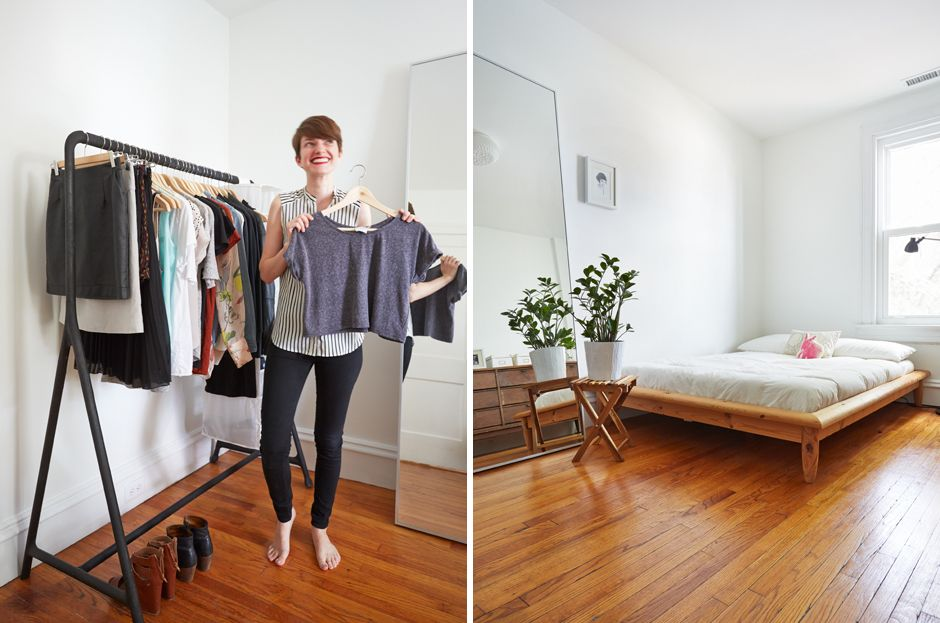 bedroom and closet with an open clothing rack ikea minimalism