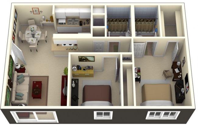 50 Plans 3D d\u0027appartement avec 2 chambres Appartements, Idée et Plans - plan maison avec appartement