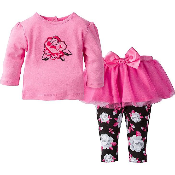 5866af523 This precious girls' 2-piece essentials set from Gerber includes a matching  long sleeve shirt and pair of tutu leggings. It's the perfect addition to  her ...