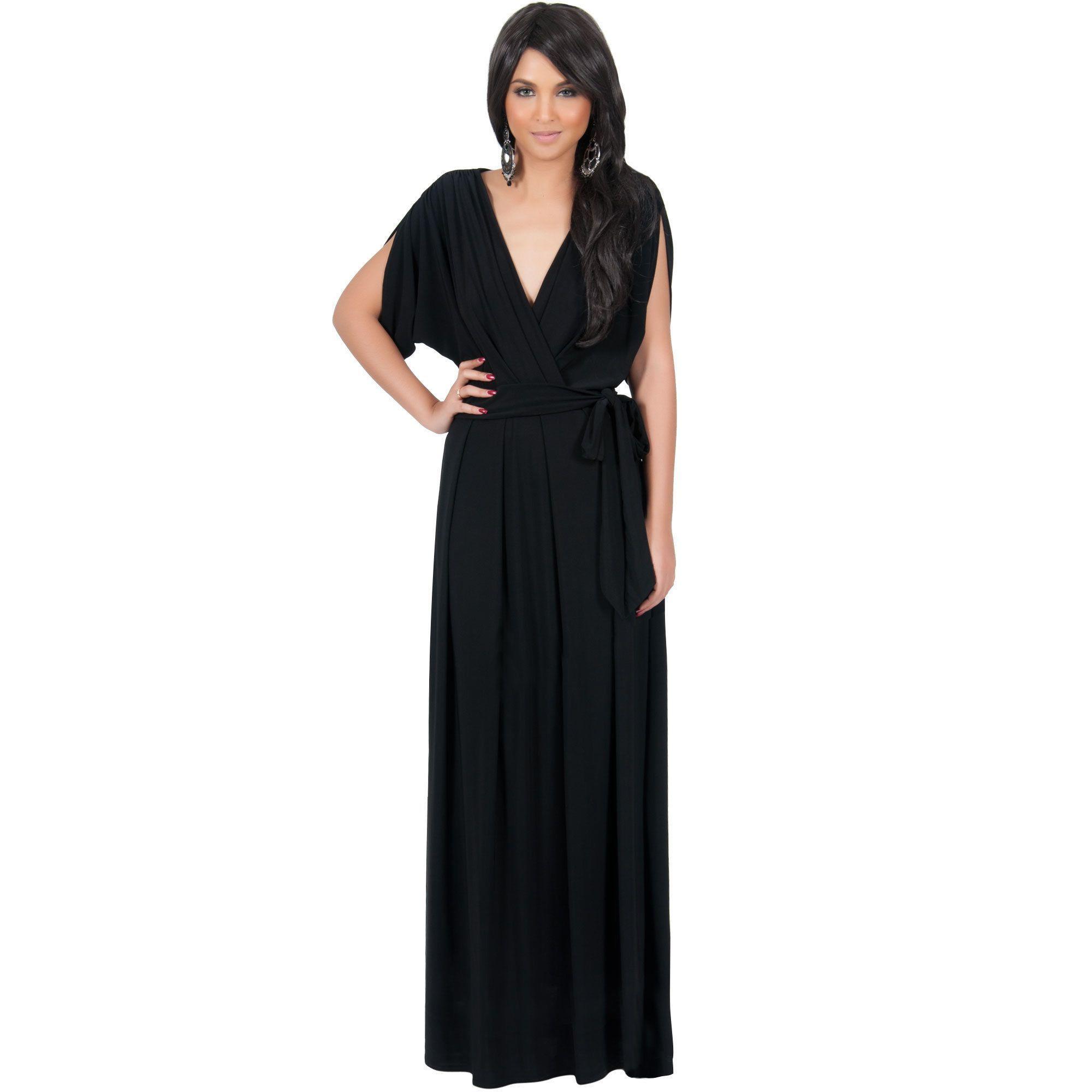76bb697a5a5 Global Koh Koh Women s Batwing Dolman Sleeve Elegant Cocktail Gown Maxi  Dress