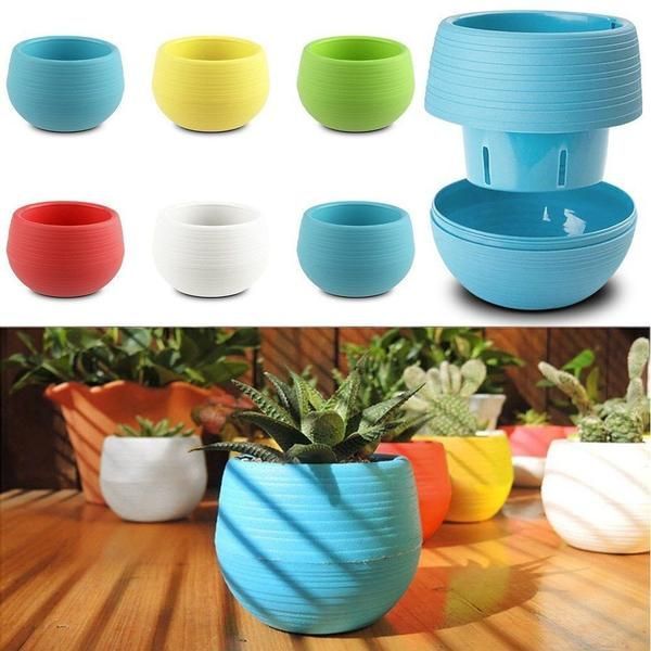 Round Modern Plastic Multipurpose Flower Pots Include Water Catch Tray That Fits Plastic Flower Pots Planting Flowers Flower Pot Garden