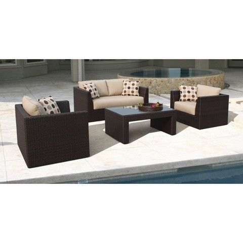 Atlantis 4 Piece Wicker Patio Conversation Furniture Set