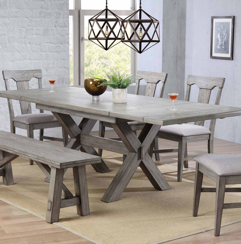Ophelia Co Vergara Trestle Table Reviews Wayfair Dining Table In Kitchen Grey Dining Tables Dining Room Table
