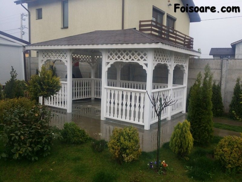 Foisor Din Lemn Alb Traditional House Styles Gazebo Patio