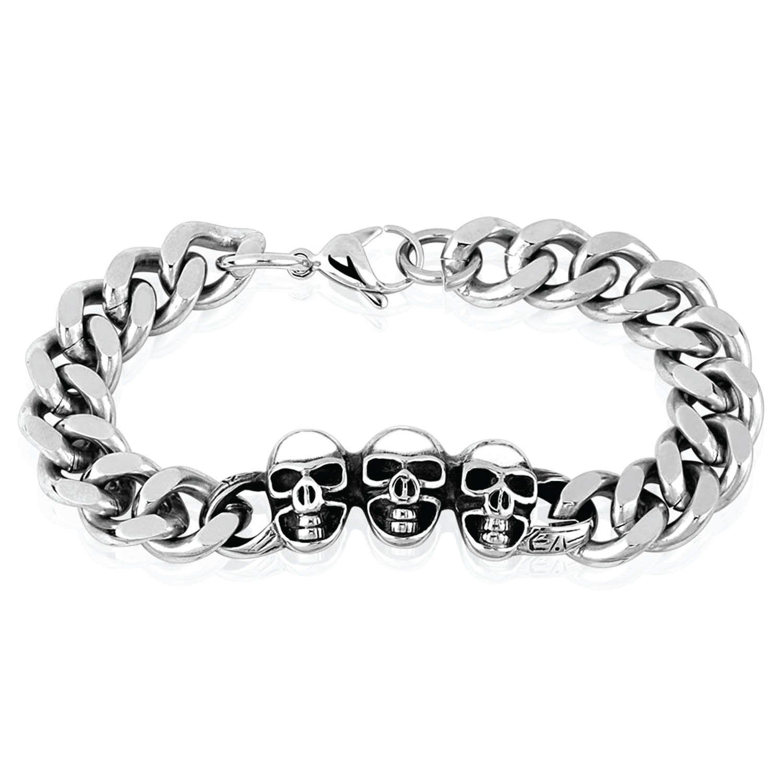 Bodyjyou bracelet menus heavy stainless steel link wrist skulls