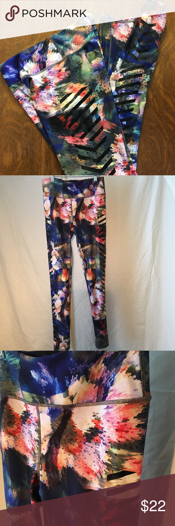 """30dad2c10146fc Kyodan floral geometric athletic leggings size S Blue/Pink/Green multi  geometric floral. Soft and stretchy! Flat waist approx 13"""" Rise approx 10""""  Inseam ..."""