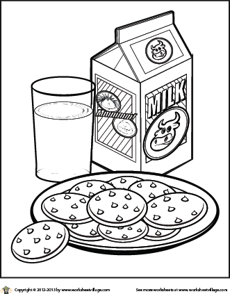 Milk And Cookies Coloring Page Milk N Cookies Milk Color Coloring Pages