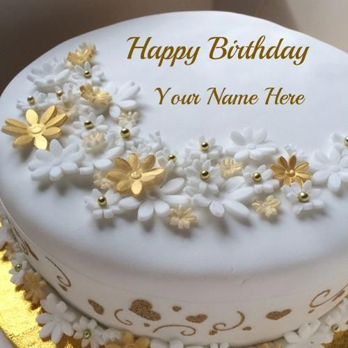 Golden Birthday Celebration Fruit Cake With Your Name ...