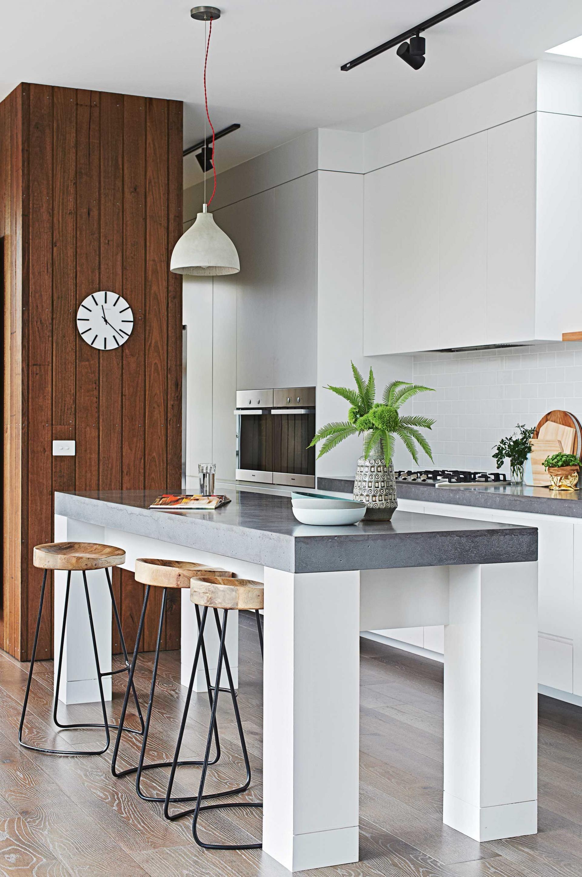 white kitchen-orson-and-black-stools-concrete-bench-top ...