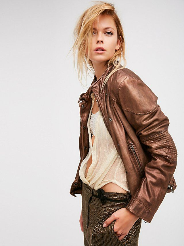 Fitted And Rugged Leather Jacket From Free People Fashion Leather Jacket Bohemian Fashion Summer