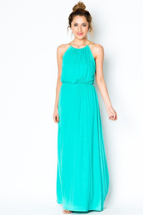 80d496a1e78 A maxi dress fit for a goddess! This gorgeous teal maxi dress features a  cinched waist and halter top with chain detail at neck. Absolutely stunning!