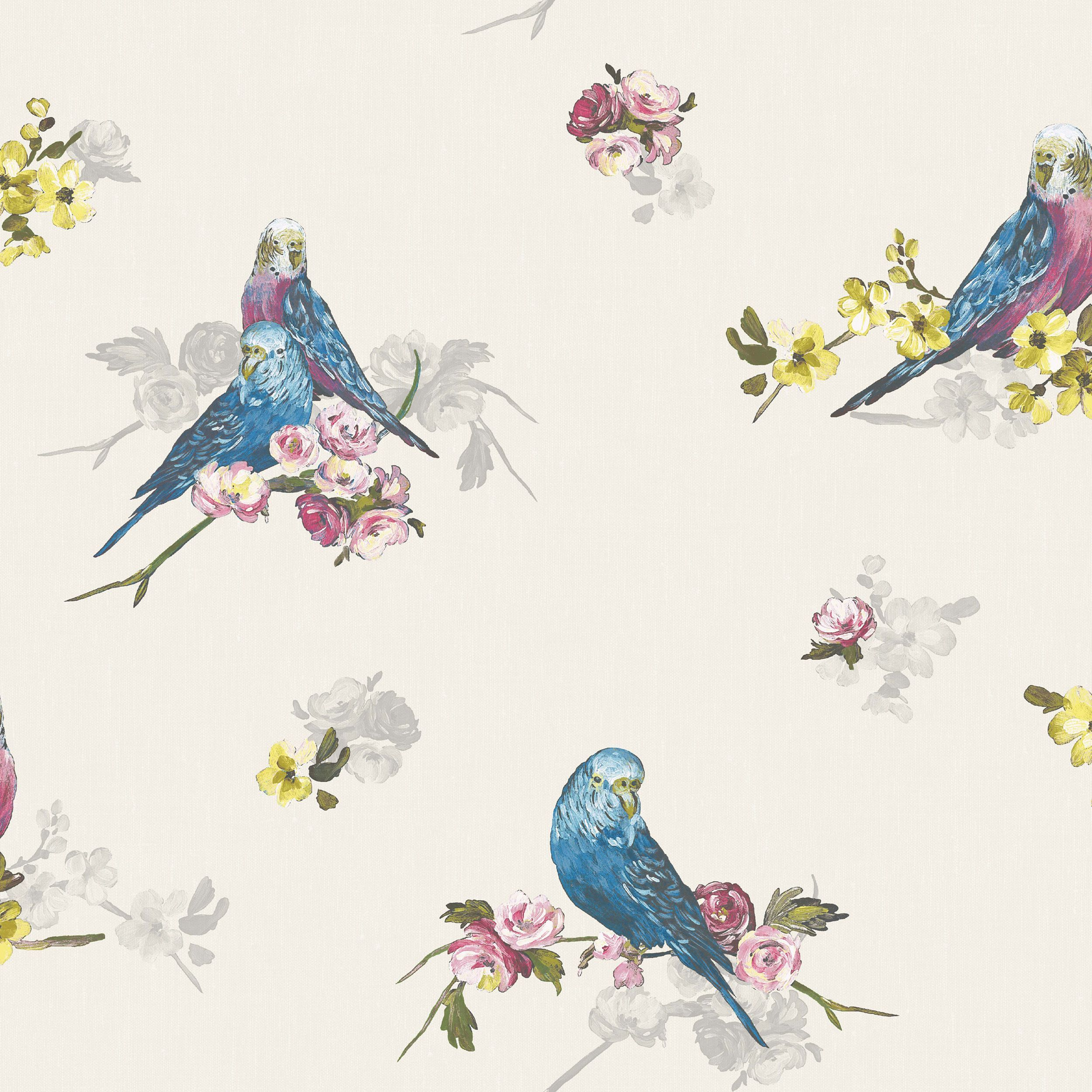 Bird Wallpaper Statement Budgie Blue & Grey Floral Birds Wallpaper  Blue Grey