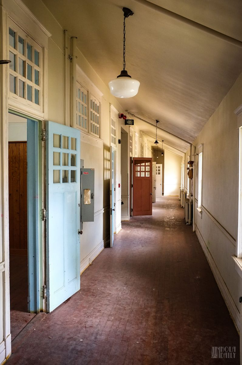 Multicolored doors, Lakeview School, New Orleans. Lake
