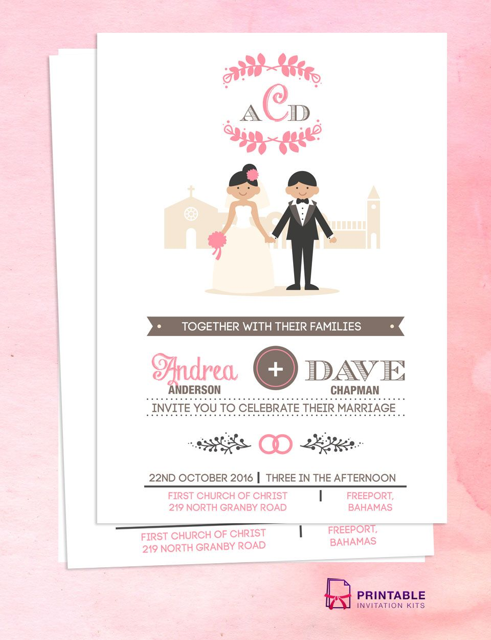 Illustrated couple in front of church wedding invitation template ...