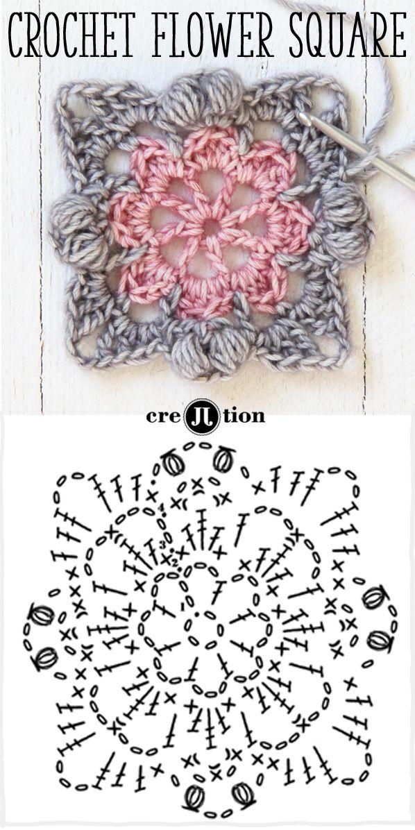 diagrama y la imagen de crochet patrón cuadrado flor por creJJtion ...
