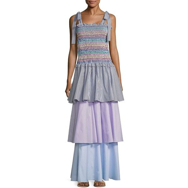 Petersyn Ellis Tiered Striped Maxi Dress ($320) ❤ liked on Polyvore featuring dresses, cotton maxi dress, color block dresses, strappy maxi dress, ruffle maxi dress and stripe maxi dress