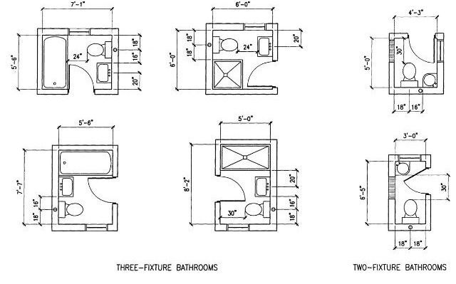 6 option dimension small bathroom floor plans layout great for Toilet and bath design small space