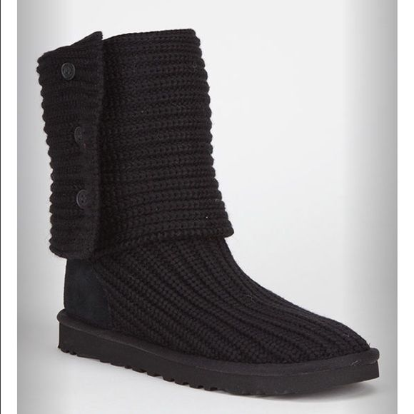 Black Knit Uggs | Boots, Ugg sweater