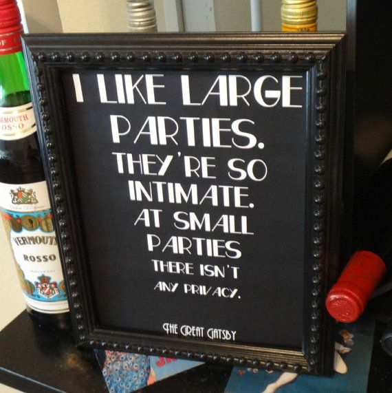 Printable I Like Large Parties Great Gatsby Fitzgerald Quote